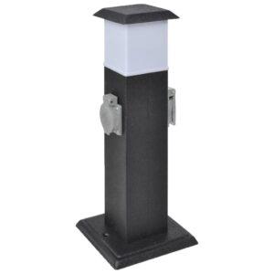 Gartensteckdose Steckdosenturm Schwarz mit Lampe
