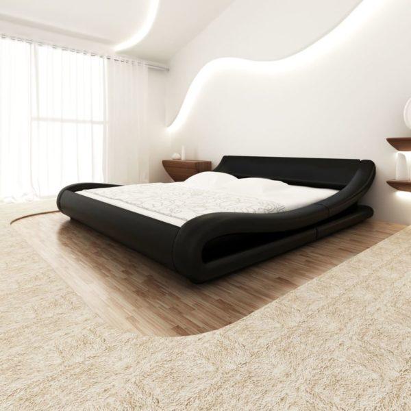 Bett mit Memory-Schaum-Matratze Schwarz Kunstleder 180×200 cm