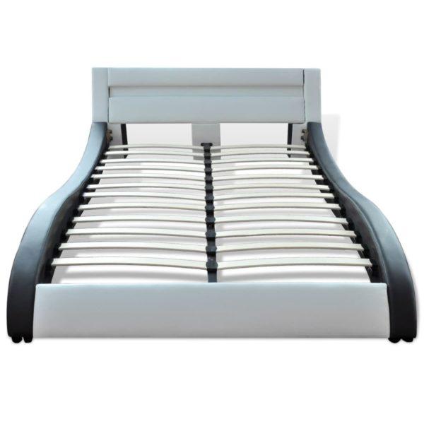 Bett mit Matratze LED Schwarz & Weiß Kunstleder 180×200 cm