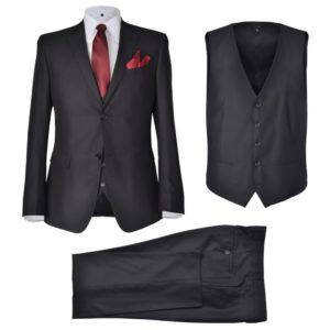 Business Anzug für Herren 3-teilig Schwarz Gr. 48