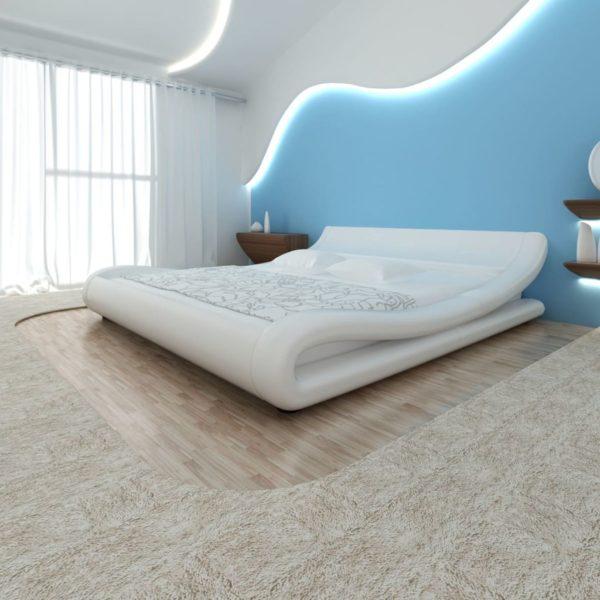 Bett mit Matratze Weiß Kunstleder 180×200 cm