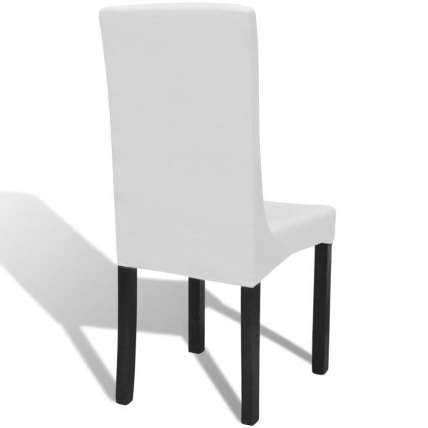 6 x Stuhlhusse Stretchhusse gerade weiß