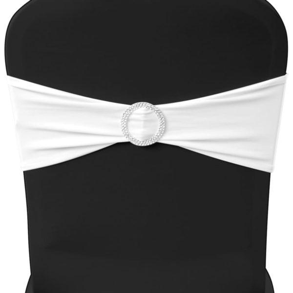25 x Stuhlschleifen Stretch Schleifenbänder + Diamant Schnalle weiß
