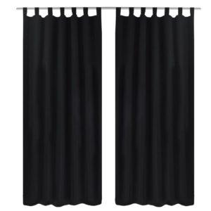 Vorhänge Gardienen aus Satin 2-teilig 140 x 175 cm Schwarz