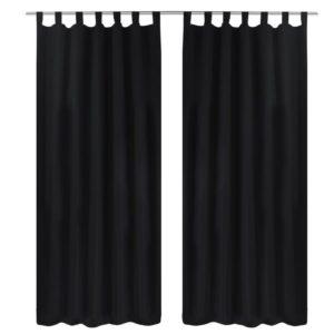 Vorhänge Gardienen aus Satin 2-teilig 140 x 245 cm Schwarz