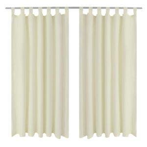 Vorhänge Gardienen aus Satin 2-teilig 140 x 175 cm Creme