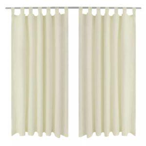 Vorhänge Gardienen aus Satin 2-teilig 140 x 245 cm Creme