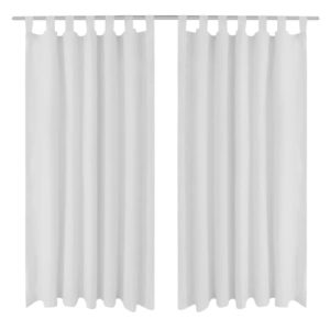 Vorhänge Gardienen aus Satin 2-teilig 140 x 175 cm Weiß