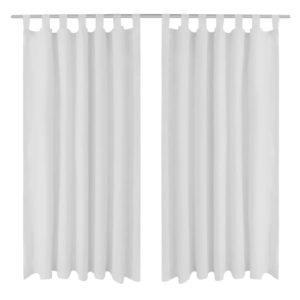 Vorhänge Gardienen aus Satin 2-teilig 140 x 245 cm Weiß