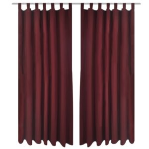 Vorhänge Gardienen aus Satin 2-teilig 140 x 175 cm Dunkelrot