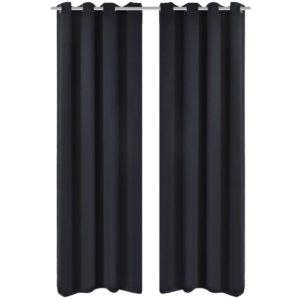 Verdunkelungs-Vorhänge mit Metallringen 135 x 245 cm Schwarz blackout