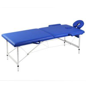 Massagetisch mit Aluminiumrahmen, faltbar 2 Zonen Blau