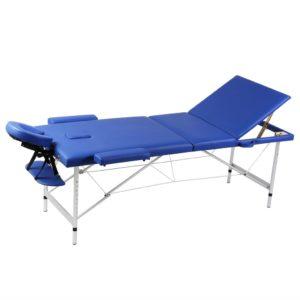 Massagetisch mit Aluminiumrahmen, faltbar 3 Zonen Blau