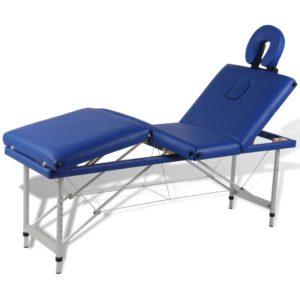 Massagetisch mit Aluminiumrahmen, faltbar 4 Zonen Blau