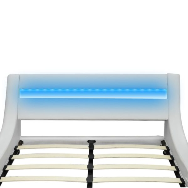 Bett mit Matratze LED Weiß Kunstleder 180×200 cm