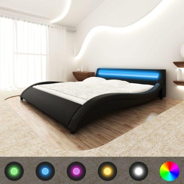 Bett mit Matratze LED Schwarz Kunstleder 180×200 cm