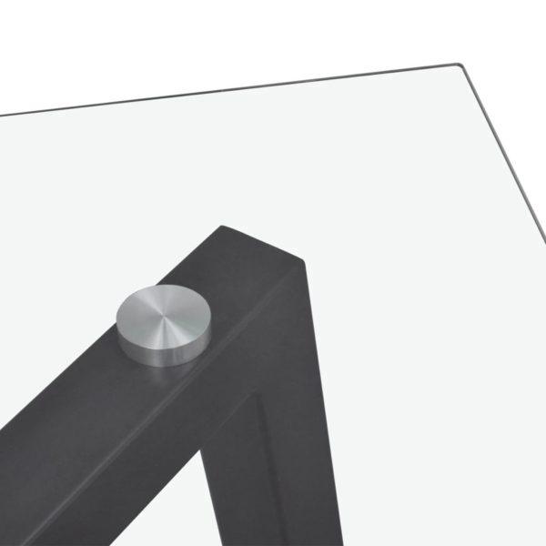 Esstisch mit Glasplatte und Schwarzen Tischbeinen