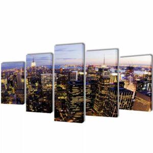 Bilder Dekoration Set Vogelperspektive auf New York 100 x 50 cm