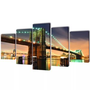 Bilder Dekoration Set Brooklyn Bridge 100 x 50 cm