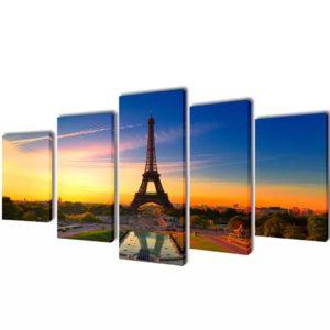 Bilder Dekoration Set Eiffelturm 100 x 50 cm