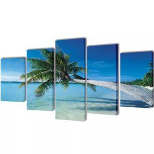Bilder Dekoration Set Strand mit Palmen 100 x 50 cm
