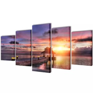 Bilder Dekoration Set Strand mit Pavillon 100 x 50 cm