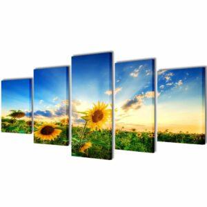 Bilder Dekoration Set Sonnenblumen 100 x 50 cm