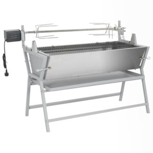 BBQ Grill mit Drehspieß Eisen und Edelstahl
