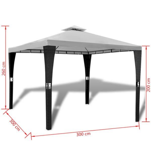 Gartenpavillon mit Dach 3 x 3 m Cremeweiß
