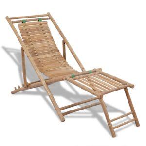 Garten-Liegestuhl mit Fußablage Bambus