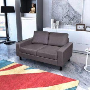 Sofa 2-Sitzer Stoff Dunkelgrau