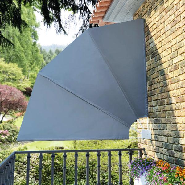 Faltbarer Balkonfächer Grau 210×210 cm