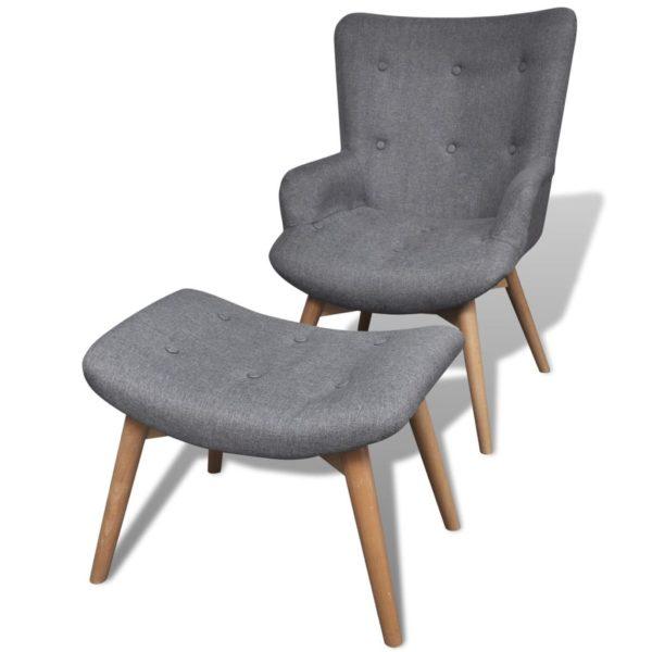 Sessel mit Fußhocker Grau Stoff