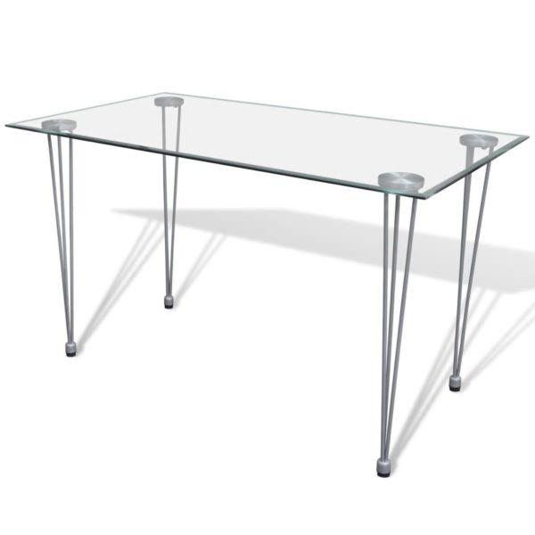 Esszimmergarnitur: Esszimmerstuhl Weiß (4 Stück) + Glastisch (1 Stück)