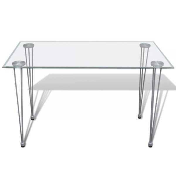 Esszimmergarnitur: Esszimmerstuhl Weiß (6 Stück) + Glastisch (1 Stück)