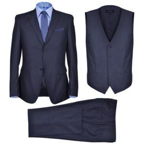 Dreiteiliger Herren-Business-Anzug Größe 48 Marineblau