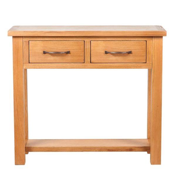 Konsolentisch mit 2 Schubladen 83x30x73 cm Massivholz Eiche