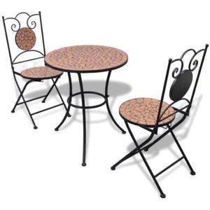 3-tlg. Bistro-Set Keramik Terrakotta
