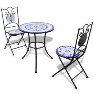 3-tlg. Bistro-Set Keramikfliese Blau/Weiß