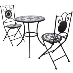 3-tlg. Bistro-Set Keramikfliese Schwarz/Weiß