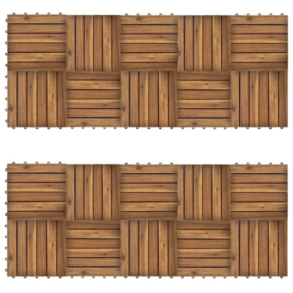 Terrassenfliesen 20er Set Vertikales Muster 30 x 30 cm Akazie