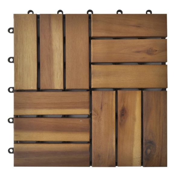Terrassenfliesen 20er Set Akazie 30 x 30 cm