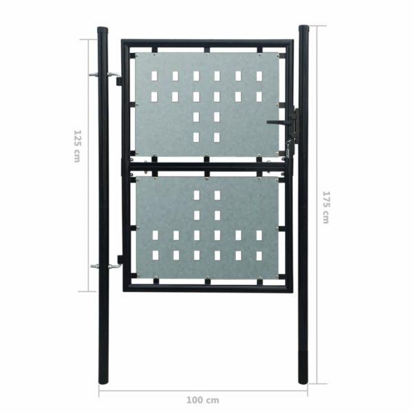 Zauntor Gartentor Einzeltor schwarz 100 x 175 cm