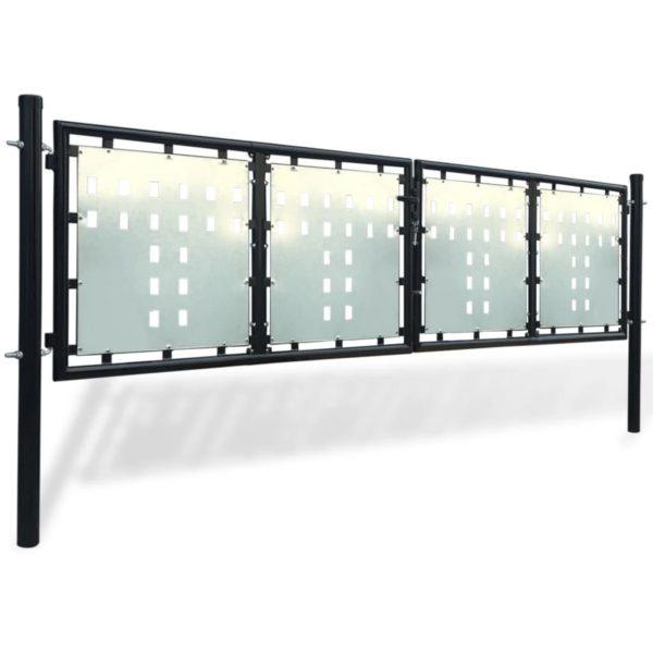 Zauntor Gartentor Doppeltor schwarz 300 x 125 cm