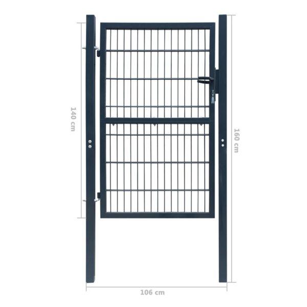 2D Zauntor (Einzeltor) anthrazitgrau 106 x 190 cm