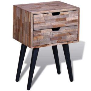 Nachttisch mit 2 Schubladen Altholz Teak