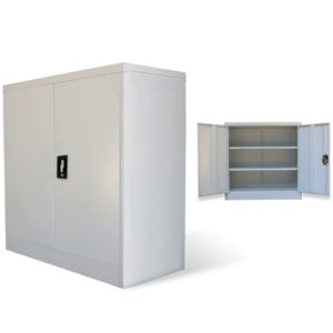 Aktenschrank mit 2 Türen Grau 90 cm Stahl