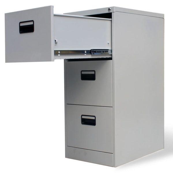 Registerschrank mit 3 Schubladen Grau 102,5 cm Stahl
