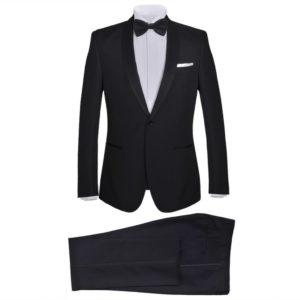 2-tlg. Herren-Abendanzug/Smoking Tuxedo Schwarz Größe 46