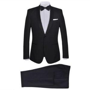 2-tlg. Herren-Abendanzug/Smoking Tuxedo Schwarz Größe 48